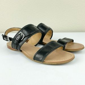 COACH Women's 8.5 B Canal Black Leather Sandals Strappy Buckle Flats   Material: